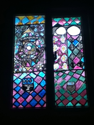 Stained-glass window at day