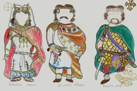 sketch of Byzantine outfits (my sketch)