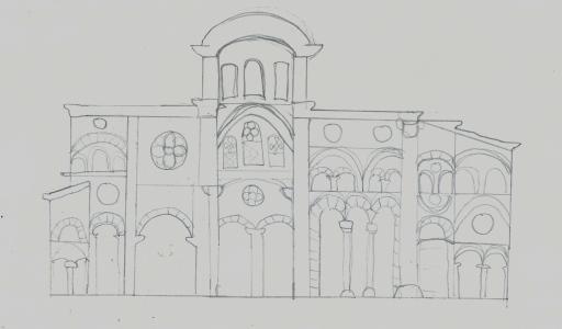 Byzantine architecture, interior side (my sketch)