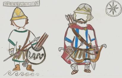 Greek peltast and archer (my sketch)