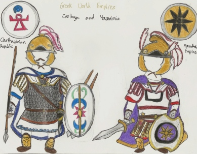 Carthaginiansoldier (left) and Macedonian hoplite (right)