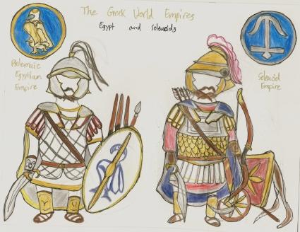 Egyptian infantry man (left), Seleucid chariot archer (right)