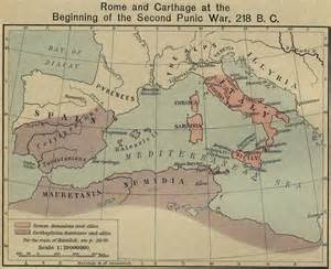 map of Carthaginian empire with Rome