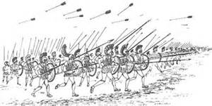 sketch of Greek Hoplites in battle