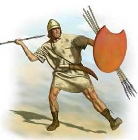 Greek pelatast at battle