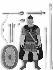 Byzantine soldier with weapons set
