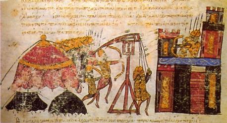 Byzantine Mangonel catapult, Madrid Skylitzes