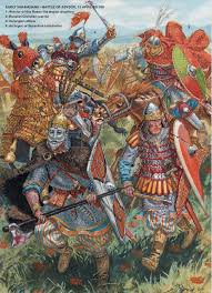 Byzantine units at the middle of battle