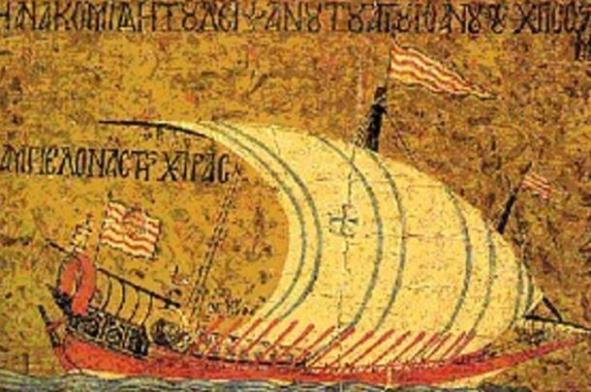 mosaic of Byzantine ship