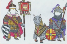 Byzantine standard bearer (left) and Cataphract (right)
