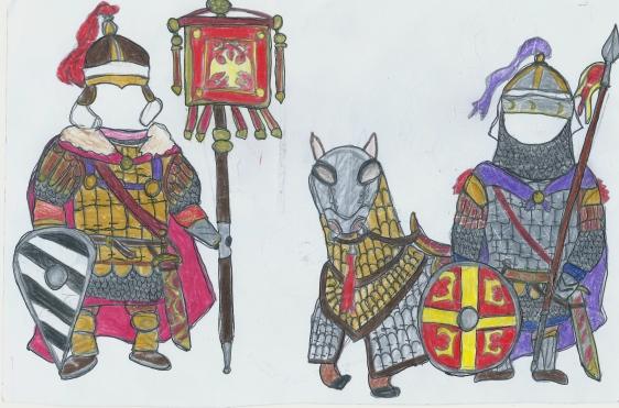 Byzantine cataphract units, standard bearer and cavalryman