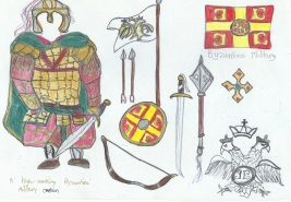 Byzantine army commander (Komes) in full lamellar Klivanion armor with Byzantine weapons: Paramerion sword, mace, shield, bow, and arrows
