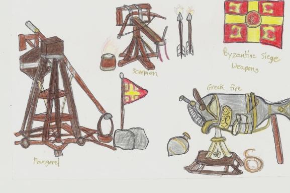 my sketch of Byzantine siege weapons