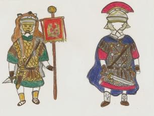 Roman Vexillarius and Centurion