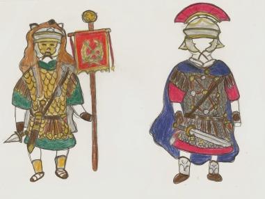 Roman standard bearer and Centurion