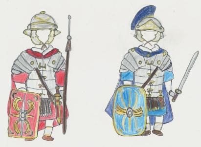 Roman legionnaires; regular cohort and praetorian cohort