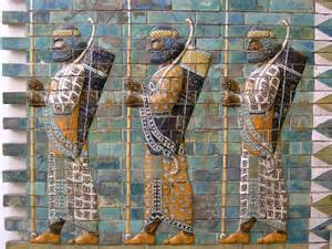 Persian warriors carved on walls
