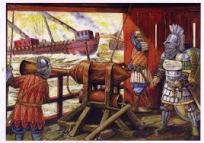 Greek Fire operated by Byzantine troops