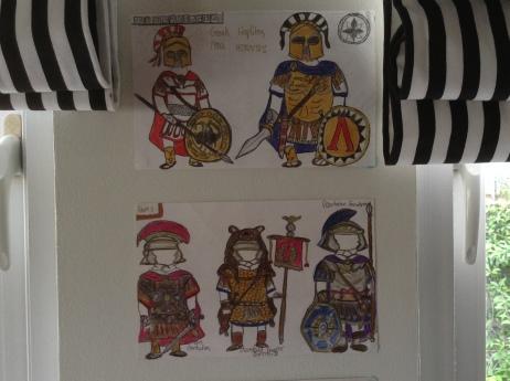 Greek Hoplites and Roman military figures sketches