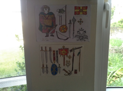 Sketch of Byzantine military basics and army captain (above) sketch of Byzantine weapons (below)