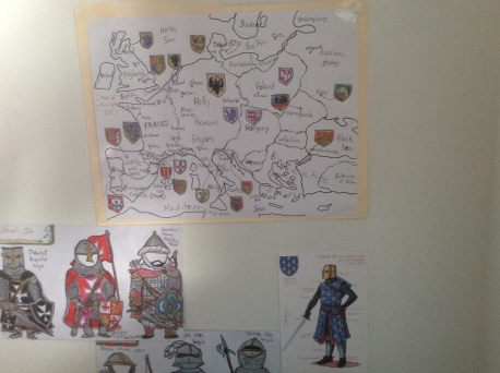 Europe Map 13th century with medieval charts and sketches