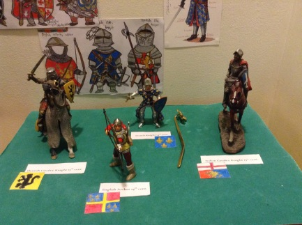 Medieval military figures (Flemish Knight, English Archer, French Knight, Italian Knight)
