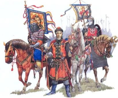 Russian Boyar with cavalrymen