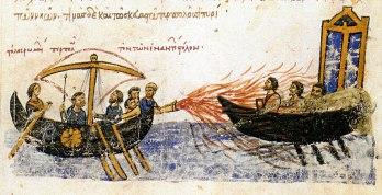 Greek Fire used against the Rus fleet's invasion, 941, Madrid Skylitzes