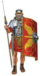 Roman Imperial era legionnaire in complete weapons set (1st century version)