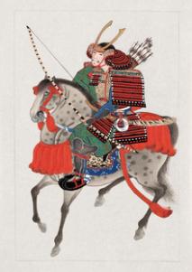 Japanese print art of Samurai horseman