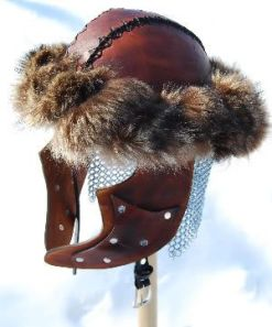 Mongol leather helmet