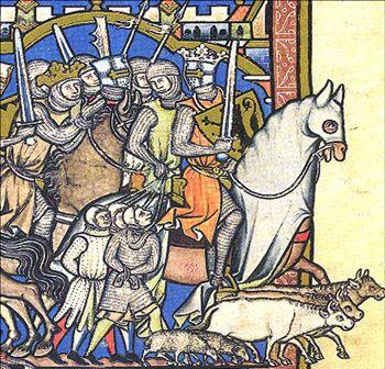 Medieval knights illuminated manuscript