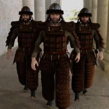Mongol warriors on foot