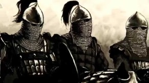 Close-up of the Byzantine Cataphract's helmets with full face covering chainmail hood