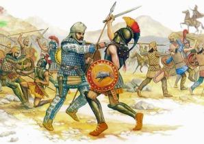 Persian Immortal kills Greek Hoplite