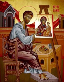 Painting of St. Luke painting an icon