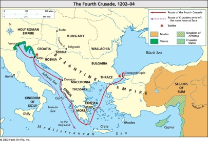 Route of the 4th Crusade, Venice to Constantinople