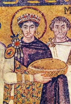 Mosaic of Emperor Justinian I in a purple cloak