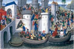 Crusaders besiege Constantinople, 1203