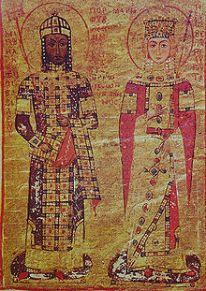 Emperor Manuel I Komnenos (r. 1143-1180) and wife Empress Maria of Antioch