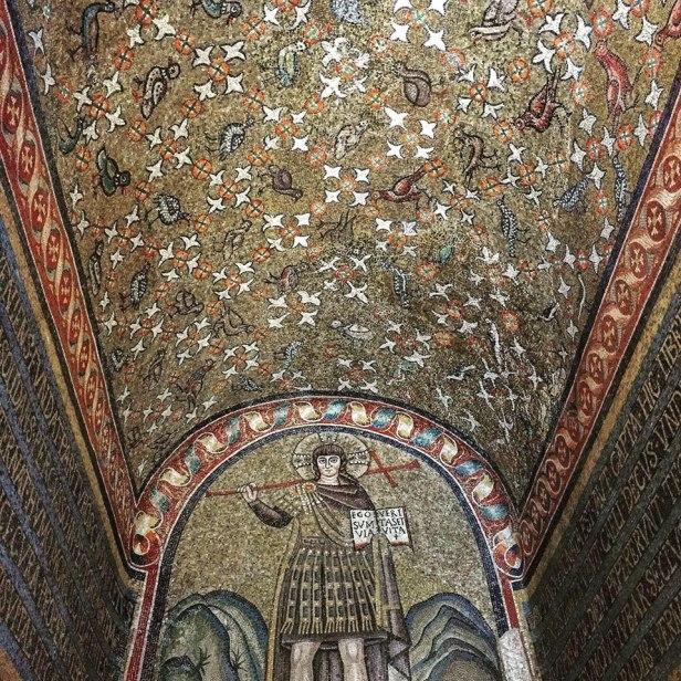 Orthodox Christian mosaic of Christ as a warrior