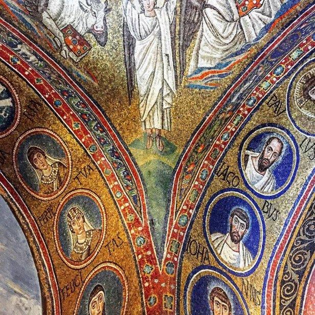 Mosaics of the saints at the Capella di San Andrea
