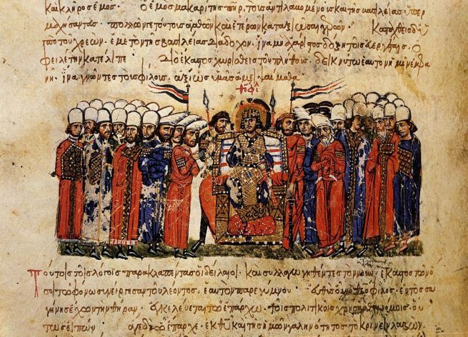 Byzantine Emperor Theophilos (r. 829-842), surrounded by dignitaries of his court. Illustration from the Madrid Skylitzes (Fol. 42v) c. 12th century, [Public Domain] via Creative Commons
