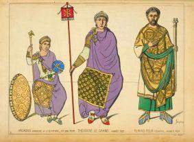 Emperor Theodosius I (center) with Arcadius (left)
