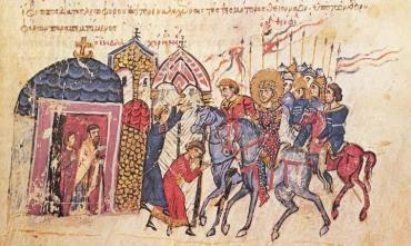 Emperor Theophilos on horse