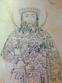 Mosaic sketch of a young John V Palaiologos