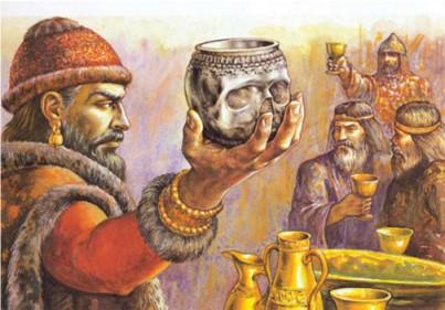 Bulgarian Khan Krum drinks from the skull of Nikephoros I