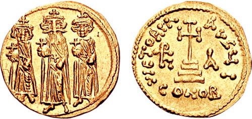 Gold solidus of Heraclius and sons Constantine III and Heraklonas