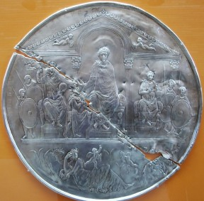 Silver plate of Emperor Theodosius I with his sons Arcadius and Honorius