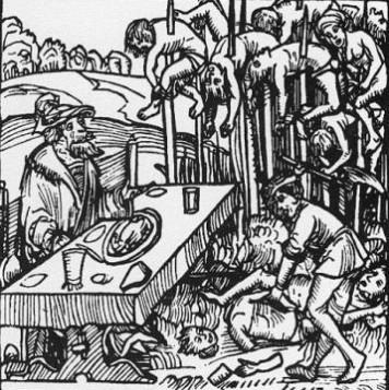 Vlad III dines with impaled corpses